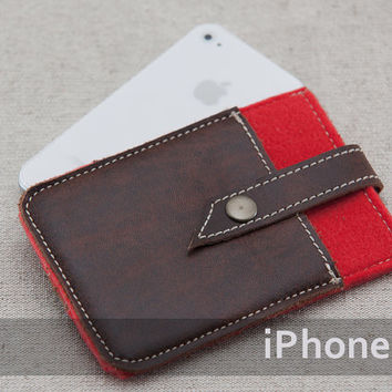 iPhone felt case. iPhone 4s case with metal button closure and pocket. Red felt iPhone sleeve. Leather IPhone case.