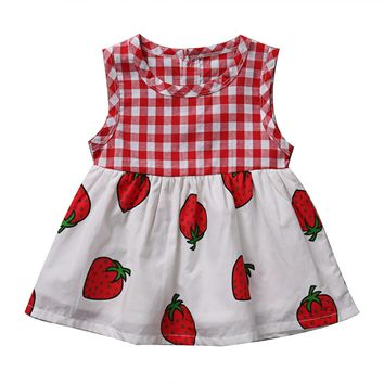 Cute Baby Girls Infant Strawberry Dress Summer Sleeveless Princess Wedding Party Casual Dress Birthday Gift Clothes Outfit