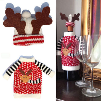 1 Set Cute Sweater Red Bottle Cover Bags Table Decoration Clothes With Antler Hats Home Party Decors