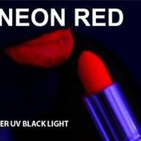 RED Neon Black Light UV Lipstick, Cream Stick, Rave Lipstick