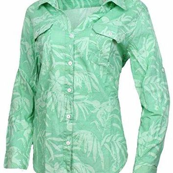 Jamaica Jaxx Womens Long Sleeve Floral Shirt With Roll Up Button Sleeve