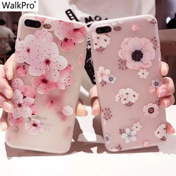 WalkPro For apple iphone 6 6s 7 Plus case cover Silicone flower 3D Relief Cartoon Flower TPU Soft printed cute Women Girl case