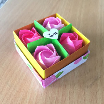 Mini Origami Rose Box for Humanity Love Charity Mental Health Awareness Valentine Gift for her