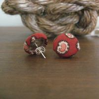 FREE SHIPPING Red & Pink Paisley - Vintage Fabric Covered Button Earrings - Post Back 5/8 inches
