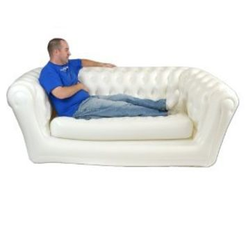 Smart Air Beds Chest Air Field Inflatable Chesterfield Two Person Sofa, Regal White