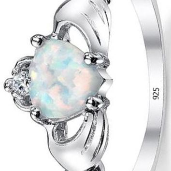 0.75 Carats Sterling Silver 925 Irish Claddagh Friendship & Love Ring with Simulated Opal Heart