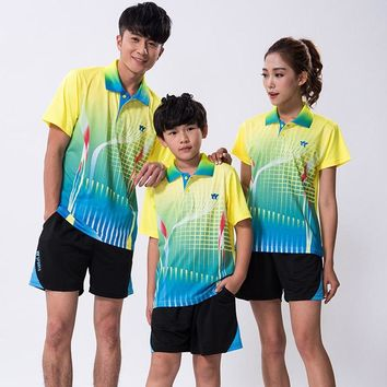 Shirt badminton tracksuit Boy Quick Dry tennis Jersey,Kid/men/women table tennis T shirt clothes pingpong team training clothing
