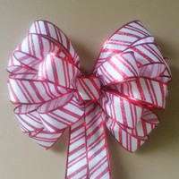 Candy Cane Christmas Wreath Bow-Red and White Decorative Christmas Bow- Wreath Bow- Tree Topper Bow-Mailbox Bow-Stair Door