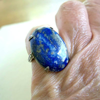 Vintage Art Deco Blue Lapis Sterling Silver Ring  Size 5