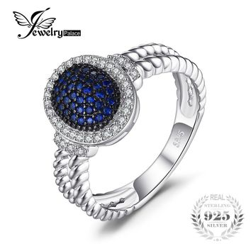 JewelryPalace Vintage 0.36ct Created Blue Spinel Cluster Ring 100% Real 925 Sterling Silver Fashion Statement Jewelry for Women
