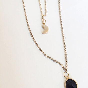 Gold Double Layered Moon Crescent Gem Necklace