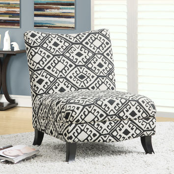 "Black/Beige ""Abstract"" Fabric Accent Chair"