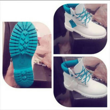Custom White and Teal Timberland (Men Size)