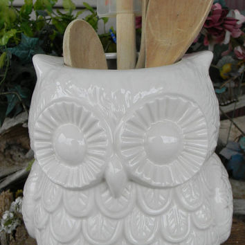 Owl utensil holder kitchen organization owl large ceramic planter Owl Garden  . owlpl