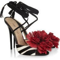 Jimmy Choo | Faye zebra-print calf hair sandals | NET-A-PORTER.COM