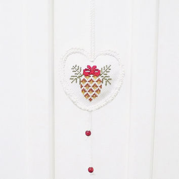 Christmas ornament, heart, hanging, hand embroidery, cross stitch, pine cone, unique, handmade, crochet lace, christmas decor, gift ideas