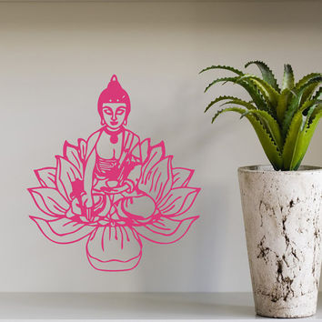Wall Decals Lotus Flower Buddha Indian Pattern Yoga Gym Home Vinyl Decal Sticker Kids Nursery Baby Room Decor kk186