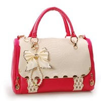 Nice Bowknot Red Handbag For Lady