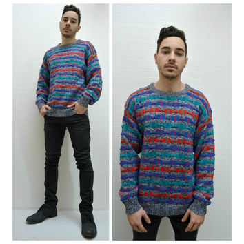 Men's Jordache Sweater Vintage Hipster Colorful Colorblock 80's 90's Size Small Medium Sweater