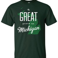 The Great State Of Michigan Green Mens T- Shirt