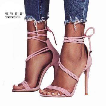 Sweet Women Sandals  Open Toe High Heels Shoes Ankle Strap Lace Up Zipper Party Shoes