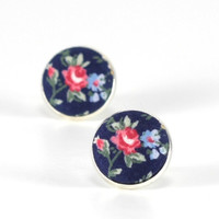 Flower Stud Earrings - Roses On Blue Earrings - Floral Studs - Red Blue Green - Romantic Fabric Buttons Jewelry - Antique Posts