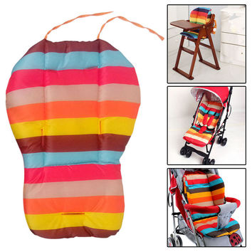 Thick Striped Rainbow Infant Baby Stroller Car Seat Cushion Pushchair Mat Cushion Cover Stroller Accessories