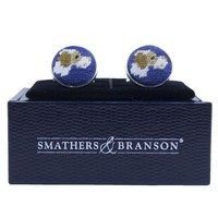 Pointer Needlepoint Cufflinks in Blue by Smathers & Branson