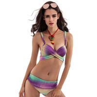 Ombre Cross Wrap Side-Tie Bikini Set