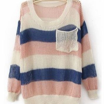 Pink Blue Round Neck Long Sleeve Striped Pockets Cotton Blends Sweaters