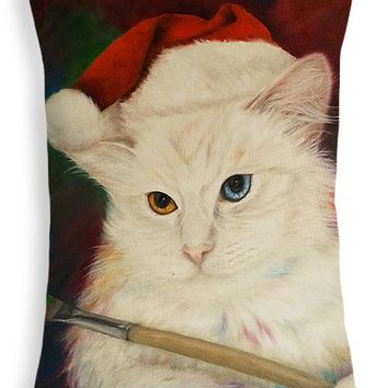 "Dirty Cat and Christmas Throw Pillow for Sale by Kathleen Wong - 20"" x 14"""