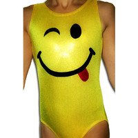 Gymnastics Leotards Girls Mystique Smiley Face Leotard Gymnast cxs cs cm cl axs as am al Sizes Todder - Adult