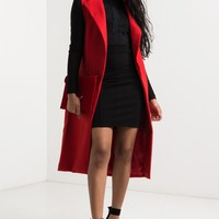 Long Sleeveless Open Front Two Pocket Mid-weight Lapel Coat in Red