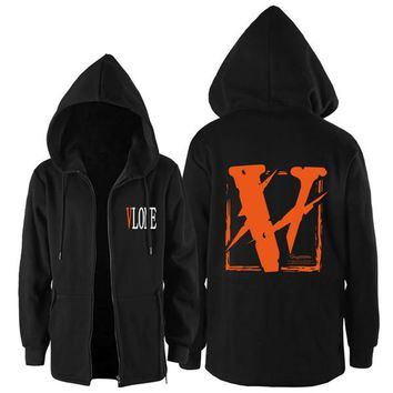 17FW VLONE FRIENDS Europe and the United States High Street Joint Lightning Orange V Vest Hooded Cardigan jacket for men and women
