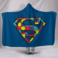 Superman Autism Hooded Blanket