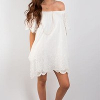 Apple Of My Eyelet Off-The-Shoulder Dress - Whited