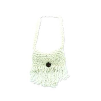 Crocheted Cream Colored Hand Knit Shoulder Bag
