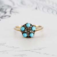 Victorian Turquoise & Seed Pearl Ring, Antique 10k Yellow Gold Star Motif, Bohemian Love Token Alternative Engagement December Birthstone
