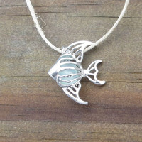 Sea Glass Angel Fish Necklace Silver Pale Aqua Genuine Beach Glass