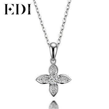 EDI Flower Star Natural Diamond H/SI Wedding Pendants For Women Soild 18K White Gold Fine Jewelry Pendant 16' Necklace Chain