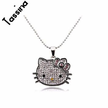 5850cb6aa Tassina 2017 New Silver Color Korea Crystal Cute hello kitty C. Item Type:  Necklaces Fine or Fashion: Fashion Metals Type: Tin Alloy Necklace Type:  Pendant ...