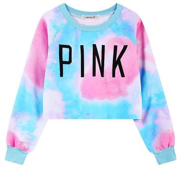 Pink Print Harajuku Style Crop Top Long Sleeve