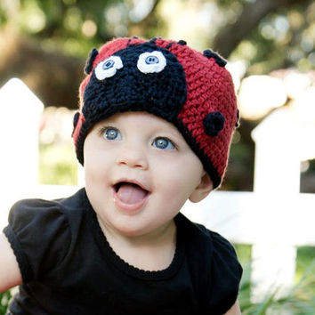 Crochet Pattern for Love Bug Ladybug Beanie Hat - 5 sizes, baby to adult - Welcome to sell finished items