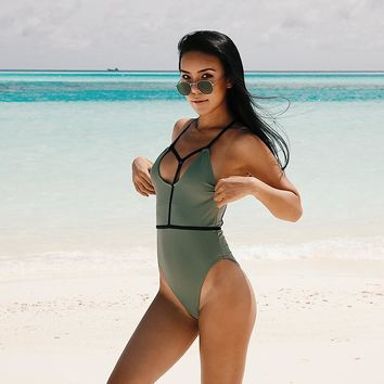 One Piece Swimsuit Army Green Bodysuit Deep V High Cut Bathing suit