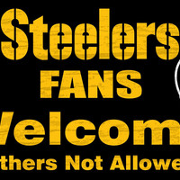 """Pittsburgh Steelers Wood Sign - Fans Welcome 12""""x6"""""""