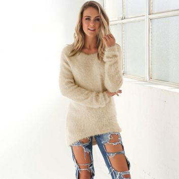 Cozy Casual Solid Long Sleeve Beige Sweater