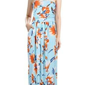 Demetory Womens Strapless Floral Print Vintage Beach Wedding Party Maxi Dress with Pocket