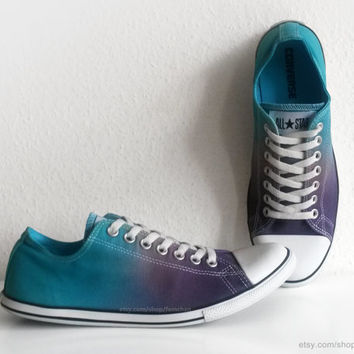 Petrol blue and dark purple ombre Converse Dainty, dip dye upcycled vintage sneakers, All Stars, eu 42.5 (UK 9, US mens 9, US wmns 11)
