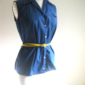 Vintage Navy Blue Sleeveless Button Down Blouse Size L