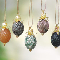 Pineapple Necklace Beach Jewelry Stone Brass Pick Your Flavor Jasper, Agate